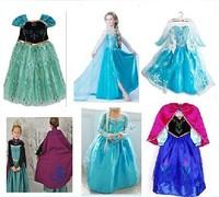 Free Shipping 2014 New Style Girls Frozen Dress Elsa Anna Beautiful Fashion Princess Dress Children's Cloting Drop shipping