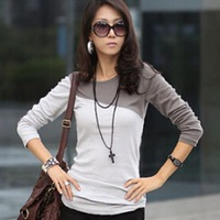 2014 hot sale spring summer autumn Women's T-Shirt Splice Casual Round Neck Long Sleeve T-Shirt fashion patchwork T-shirt