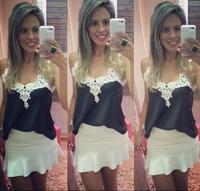 White lace patchwork V-neck blouse women sleeveless chiffon blusas free shipping 2014 new