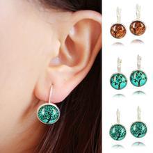 tree glass cabochon silver earrings French leverback dangle earrings fashion jewelry galaxy tree cabochon earrings for women