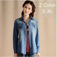 Casual Shirt 2014 Autumn Fashionable Long Sleeve Camisa Jeans Shirt Women Denim Shirt Desigual Blue Gradient Buttons Patchwork
