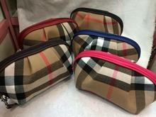 2014 new fashion women travel cosmetic toiletry makeup bag plaid casuel handbag organizer pouch purse