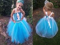 Elsa Baby Girls Dress Sleeveless Hang One-Piece TuTu Dress Frozen Free Shipping