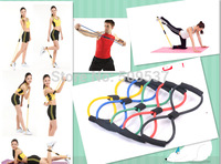 Yoga Pilates Sport equipment 8 shaped tubing Fitness Resistance Bands Latex Exercise Tubes Elastic Training Rope