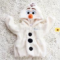 Frozen Cute Olaf Kids children Girls Hoodie Coat Jackets White Outwear 2-7Yrs fleece cotton free shipping