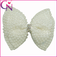 """Free Shipping 12 Pcs/lot 4"""" Pearl Hair Bows With Clips For Baby,Girls Handmade Bing Bow,Children Boutique Rhinestone Accessories"""