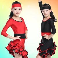 Latin Dance Dress Girls New Autumn And Winter Children's Long Sleeve Acrobatics Latin Dance Dress Black Red FC224