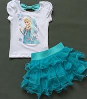 girls clothes Princess pattern cotton short-sleeved white + blue cake skirt tutu boys clothes free shipping