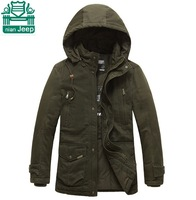 NianJeep Wholesale Price 2015 Spring Thickness Real Men Outdoor Casual Hooded Coats,Khaki/Army Green Plus Size Man's Cotton Coat