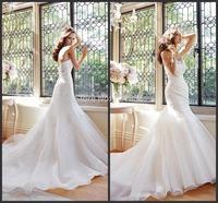 S47 Fashionable vestidos de noiva 2015 High Quality Long Mermaid Bridal Gowns casamento Sexy Romantic Bodice Wedding Dress