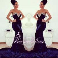 Sexy Sweetheart Mermaid Navy Long Prom Dresses Custom Made Court Train Beaded Dress Party Evening Elegant 2014 Vestido De Festa