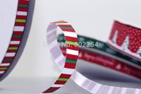 "Hot Wholesale Free Shipping 3/8"" 9MM Width 100 yards Christmas Ribbon Printed Satin Ribbons Gift Package DIY Holiday Ornaments"