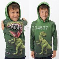 Boy's Kid Mouth Dinosaur Dragon Green Hoodie Light Jumper Tops Hood 2-7 years