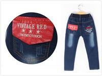 Kids Children Blue Jean Boy/girl Pu Pocket denim jeans New design