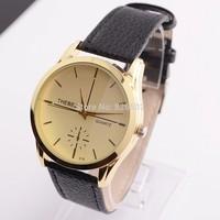 Retro business man watch Wristwatch round dial With PU Leather Black bracelet new gift design