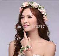 40set lady wedding bridal flower wreath garland bracelet set bridesmaid head ring hand flower wrist artificial flowers corolla