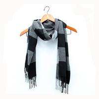 3 seasons woman lady warm box plaid cashmere fringed Tassel scarf