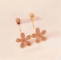 HOT Sell Women Jewelry Zirco Gold Flower double sided earrings Fashion Christmas Earrings Women Bijoux