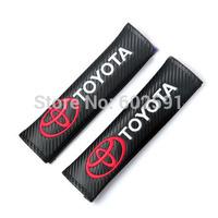 2pcs Black Car Carbon Fiber Seat Belt Shoulders Pad Truck Cover TOYOTA COROLLA RAV4 Camry CROWN PRIUS REIZ VIOS