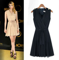 Europe and America New Spring Summer Womens Style Fashion Sleeveless Vest bouffancy chiffon Dress 300