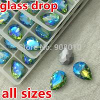 Peridot Lt Green AB Teardrop Glass Crystal Fancy Stone 10x14mm 13x18mm 18x25mm 20x30mm Droplet For Jewelry Making,Dress Use