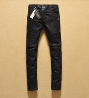 2014 new   batik  washing knee fold locomotive jeans