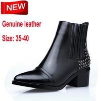 2014 New England women's boots Knight Martin boots genuine leather boots with pointed rivet in large size shoes women's boots