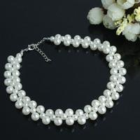 Women New Fashion Luxury V Shape Sweet Elegant Imitation Pearl Bead Bib Choker Statement Collar Necklace Jewelry Wholesale