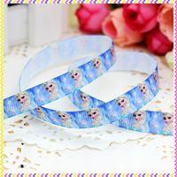 3/8'' Free shipping frozen elsa printed grosgrain ribbon hairbow headwear party decoration diy wholesale OEM 9mm P3533