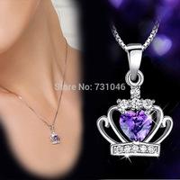 Imperial crown Pendant Necklaces 925 Silver Purple Cubic Zirconia Necklace Fashion Designer Jewelry For Bride Wedding Party