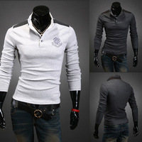New 2014 during the spring and autumn outfit Colorful collar men long sleeve  Polo shirt collar cultivate one's morality