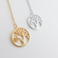 2014 Gold Silver Vintage Tree of Life Charm Necklace Women Men Jewelry