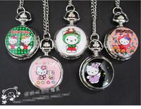 New Hello Kitty Cartoon Children Pocket Watch Fashion delicate Pendants Girl necklace Pocket Watch Quartz necklace pocket watch