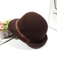 Small woolen fedoras autumn and winter female buckle jazz hat fashion british style
