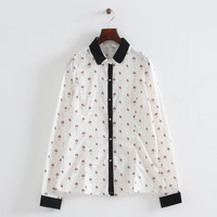 2014 girl cute dog prints cotton bow tie double layer peter pan collar blouse full sleeves slim fit casual blouse  314316