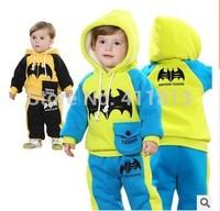 Free shipping  Boys and girls winter 2015 models plus thick velvet hooded bat long-sleeved jacket + pants