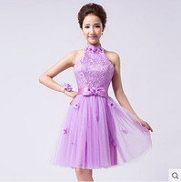 2014 New Fashion Cheap Prom Dress Knee Length Lace Ball Gown Prom dresses with Bow Tanks Sweetheart Princess Bridesmaid Dresses