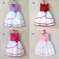 Flower Lace Girls Sleeveless Dresses Casual Princess Beautiful Children Dress 5pcs/lot