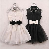 2015 New Arrival Fashion Pearl Diamond Casual Dress Small Lapel Gauze Waist Tutu Party One-piece girl cute dress