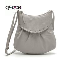 2014 New Spanish Cy zone Women Shoulder Bags High Quality Brand Rivet Ladies Messenger Bags Gray