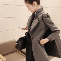 Autumn Winter 2014 Women Simple Mandarin Collar Woolen Coat Slim Casual Midium-long Single-breasted Coat Outwear S-XL 10317