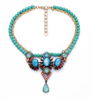 Beaded flower drop pendant joker sweater chain necklaces for women Fashion Jewelry Euro-American Christmas gift JZ111025