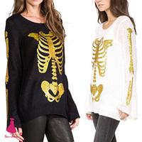 New Women's Trendy Sweater Bronzing Golden Color Skull Bone Print Loose Knitted Horn Sleeve Black Sweater Jumper Knitwear Tops