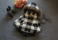 2014 New Girls Winter Plaid Batwing sleeve hooded Coat Thicken Children Coats and Jackets for 2-8 Years