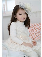 Baby Girls Party Dress 3D Rose Long Sleeve Gauze Wedding Dress Dance Party Princess Ball Gown Tutu Dresses Free Shipping