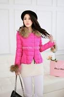 New Fashion Women Down Coat Winter Faux Fur Raccoon Collar Duck Feather Down Parkas Coat  Ladies Short  Jacket Outerwear