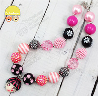 Baby Jewelry New Arrival 2pcs/lot Multicolor Solid Beads Character Pendant bubblegum Necklace