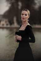 2014 Sexy Vintage Cannes  Ulyana Sergeenko  Elegant Vintage charming wave  Satin long Dress Formal  Dress Celebrity Dresses