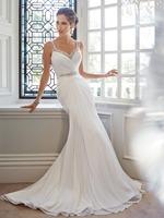 S41 vestido de noiva 2014 New Fashion casamento Sexy V-Neck Pleated and Crystal Long Mermaid Wedding Dress Chiffon Backless