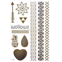 1pc/lot/TJ001,Glod Temporary Tattoo/Chain,Arrow,Heart,waterdrop/waterproof Flash Metallic fake tatoo sticker/Christmas gift